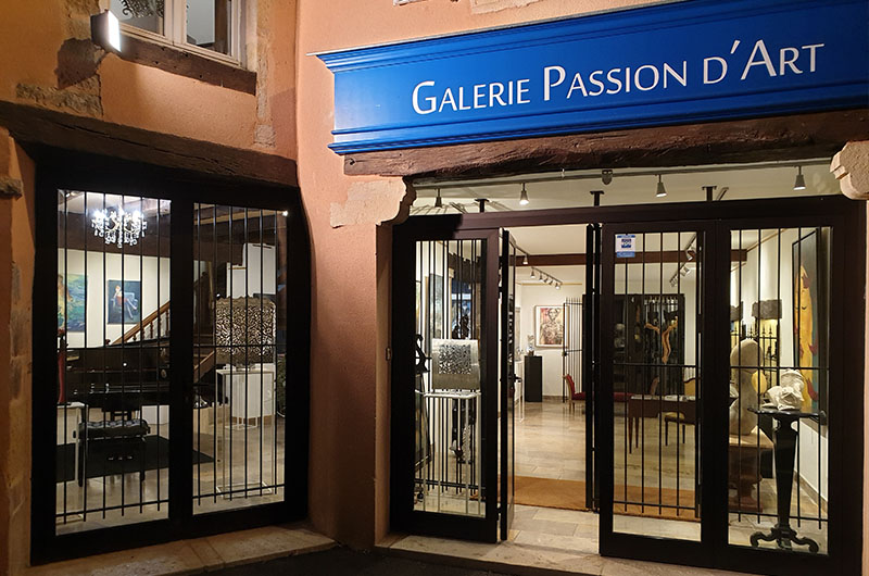 Vitrine galerie passion d'art à Cluny